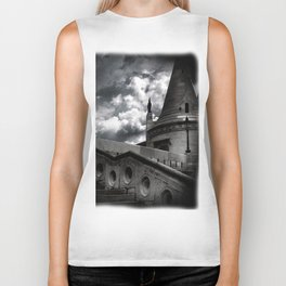 Black and White Gothic Castle Halloween Biker Tank