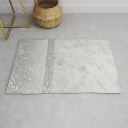 White Marble Silver Gray White Glitter Stripe Glam #1 #minimal #decor #art #society6 Rug