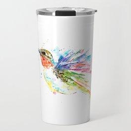 Ruby Throated Hummingbird - Watercolor Bird Painting Travel Mug