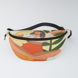 Abstract Young Smiling Happy Female Feeling Well In The Morning Sun Fanny Pack