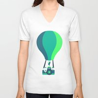 baloon V-neck T-shirts featuring Camera-baloon BLACK by GioDesign