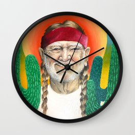 Willie Nelson Sunset Cactus Painting Wall Clock
