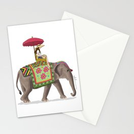 Woman on Elephant Stationery Cards