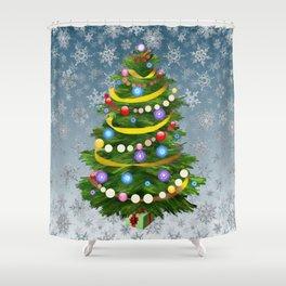 Christmas tree & snow Shower Curtain