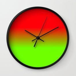 Neon Red and Neon Green Ombré  Shade Color Fade Wall Clock
