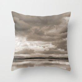 Stormy lake. Vintage Throw Pillow