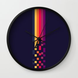 Classic 70s Retro Stripes Pixel Drops - Aihachi Wall Clock