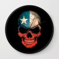 chile Wall Clocks featuring Dark Skull with Flag of Chile by Jeff Bartels