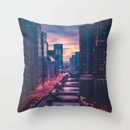 The Pink Cityscape (Color) Throw Pillow