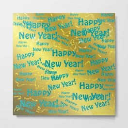 new blue Colorful design happy new year text in gold, festive, elegant gift for anyone in the family Metal Print