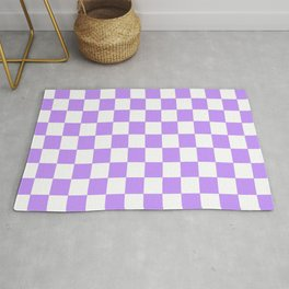 Checkered Pattern White and Lavender Rug