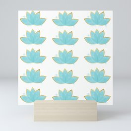 Floral Lotus Watercolor Seafoam Blue & Faux Gold  Mini Art Print