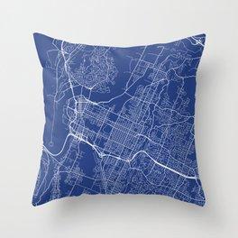 Chattanooga Map, USA - Blue Throw Pillow