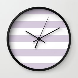 Languid lavender - solid color - white stripes pattern Wall Clock
