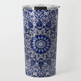 N33 - Blue Andalusian Bohemian Moroccan Mandala Artwork. Travel Mug