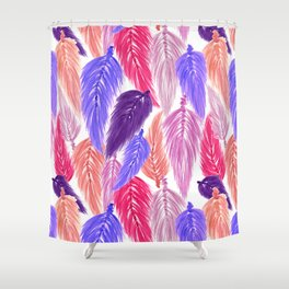 Watercolor Macrame Feather Toss in White + Purple Pink Shower Curtain