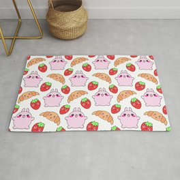Cute happy funny pink baby bunnies, sweet adorable yummy Kawaii croissants and red ripe summer strawberries cartoon white pattern design Rug