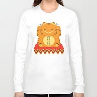 garfield Long Sleeve T-shirts featuring Lucky Garfield by Ashley Hay