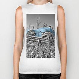 Old blue car Biker Tank