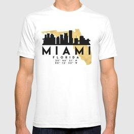 MIAMI FLORIDA SILHOUETTE SKYLINE MAP ART T-shirt