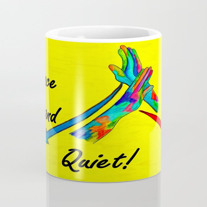 American Sign Language Peace and Quiet Coffee Mug