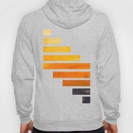 Orange Yellow Ocre Midcentury Modern Minimalist Staggered Stripes Rectangle Geometric Pattern Waterc Hoody