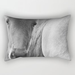 Original horses photo. Black & White, fine art, animal photography, landscape, b&w Rectangular Pillow