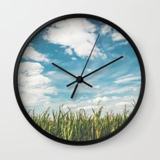 Green Field Blue Sky Wall Clock