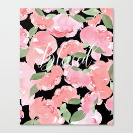 Blush Peony Blessed Canvas Print