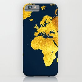Royal Blue and Gold Map of The World - World Map for your walls iPhone Case