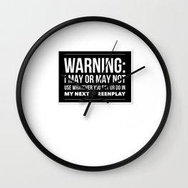 TV Writer Warning Wall Clock