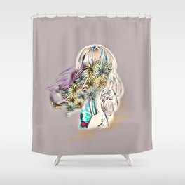 flower arrangement girl Shower Curtain