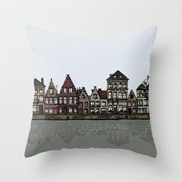 Bruges sketch Throw Pillow