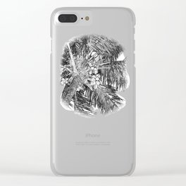 Coconuts on the palm tree in black and white Clear iPhone Case