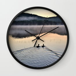 Love Ducks at Dawn on Lake George Wall Clock
