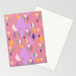 Rhombuses on pink background, abstract seamless pattern Stationery Cards