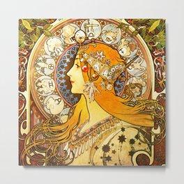 La Plume Zodiac - Alphonse Mucha Metal Print
