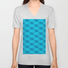 Classic cube/hexagon pattern in Blue Unisex V-Neck