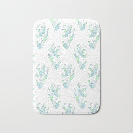 Little Succulent Pattern - Green on White Bath Mat