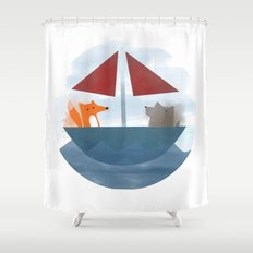 Fox & Wolf in a Tub Shower Curtain