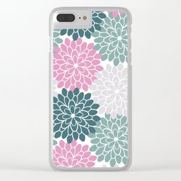 Petal in Rose, Cyan and Milky Grey Clear iPhone Case