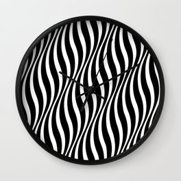 Illusion Wavy Lines Black and White Pattern Wall Clock