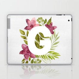 Monogram G with red waercolor flowers and green leaves. Floral letter G. Botanical illustration. Laptop & iPad Skin