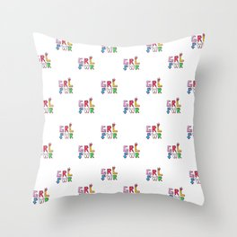 GRL PWR pattern Throw Pillow