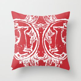 twin dancing stags of asheville from a wood carving Throw Pillow