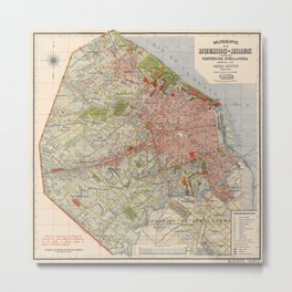 Map Of Buenos Aires 1912 Metal Print