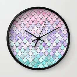 Mermaid Pastel Pink Purple Aqua Teal Wall Clock