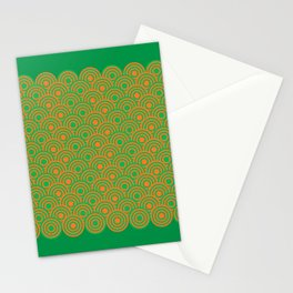 op art pattern retro circles in green and orange Stationery Cards
