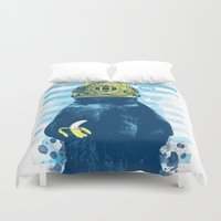diver Duvet Covers featuring Wild Diver by Steven Toang