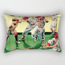 Retro Illustration Kids Playing Baseball Rectangular Pillow
